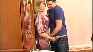 Milf in Pantyhose with Guy in Bathroom