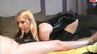 Golden-Haired gives oral pleasure in pvc & latex
