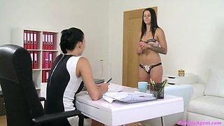 Busty agent seduces shy beauty in steamy lesbian casting