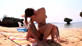 Morning beach nudity caught on by beach hidden cam