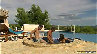 Claudia Antonelli meets two guys at the pool