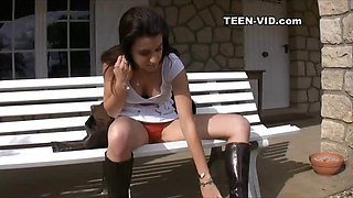 teen upskirt during video interview