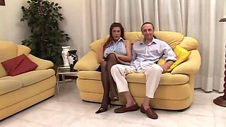 Long Haired Dude With Hard Cock Pounds Sexy Milf - On The Couch