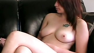 Busty babe get interviewed naked and smoking