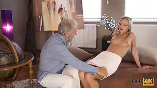 OLD4K. Nymph rewards the old teacher for his help by seducing him into hot sex