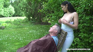 Awesome pigtailed brunette with fabulous big boobies Ava Black rides old cock