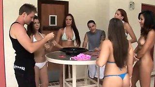 A group of seven 18-20yo teens enjoy pool sex party