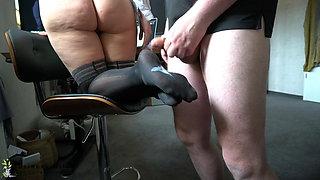boss uses secretary's nylon feet – footjob, business-bitch