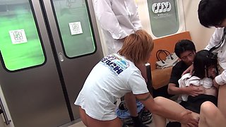 Japanese guys fuck good-looking college girl in a subway car