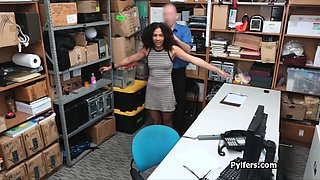 Curly ebony suspect fucked at the security guards office