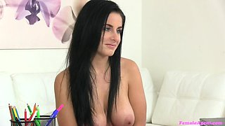 Busty beauty fucked with big dildo
