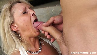 Oversexed granny gets in pants of young handsome guy