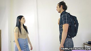 Beautiful stepsister Karly Baker clearly wants to fuck her pervert stepbrother
