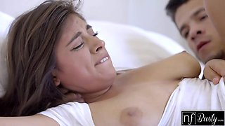 Busty sleeping girlfriend Ella Knox gets her pussy licked