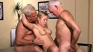 Young blonde fucking two grandpas