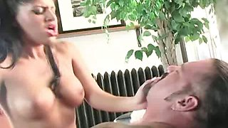 Busty Latin maid Sativa Rose gets her pussy eaten