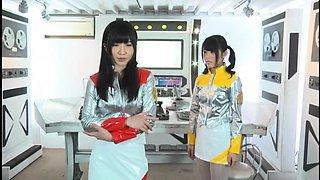 Adorable Japanese girls in uniform explore their fantasies