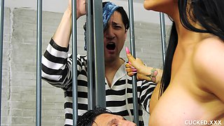 Busty babe Romi Rain gets fucked by a horny guy in the jail