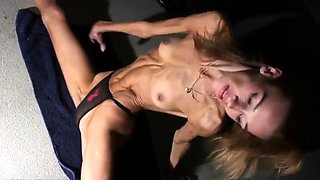 Skinny amateur blonde with small boobs stretches her body