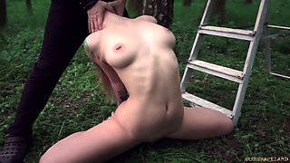 Young red haired slave get tied up and fucked in the garden tough
