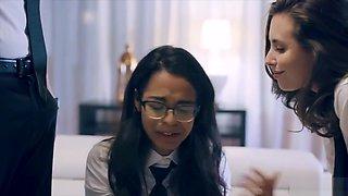 Geeky innocent virgin schoolgirl gets double teamed