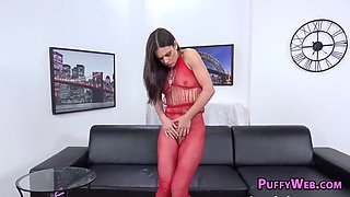 Brunette in red lingerie plays with toys and piss