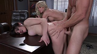 Pretty milf and a naughty young lady share professor cock