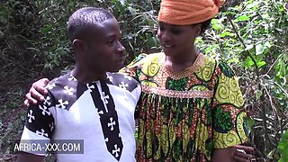 African Beauty With Her Boyfriend In The Woods