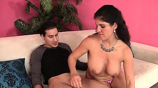 Sexy and cock hungry cougar teases a young guy and takes