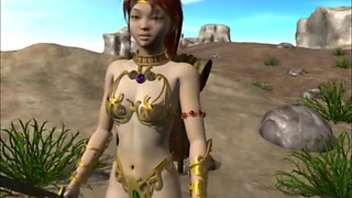 Sexy 3D anime monster fucked in the forest