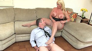 Full-bosomed mistress in stockings treats husband like a slave
