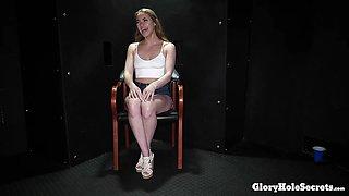Kinky Teen girl eating gloryhole cum from strangers
