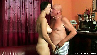 Dissolute brunette hoe Chrissie gets her shaved muff licked