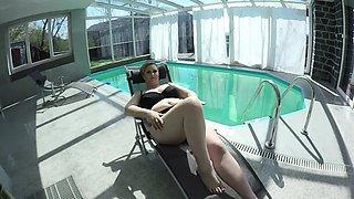 big breast Milf masturbating at the pool