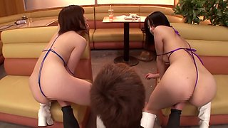Two Chicks Squirting in Restaurant