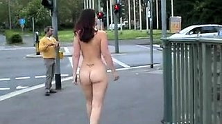 Beautiful European chick loves to walk naked around town