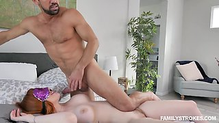 Hot guy Johnny flashes his big cock to stepsister and fucks busty stepmom