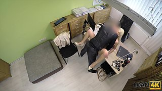 Busty blonde secretary with big booty Blanche is banged doggy style