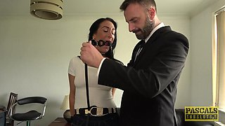 Beautiful Ella Bella ravished by a hunk during a BDSM fuck