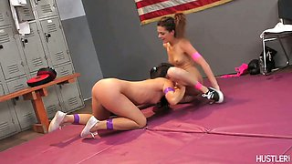 Pink panties come off in lesbian wrestling match