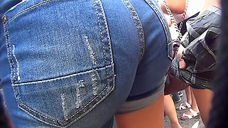 Party babe in tight jeans has her big butt recorded