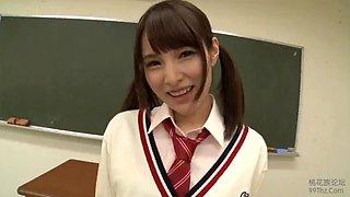 Sexy Japanese schoolgirl upskirt solo