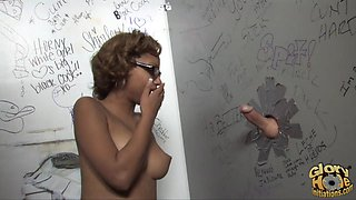 Elegant ebony fingering her shaved pussy before it gets drilled hardcore from the gloryhole in close up shoot