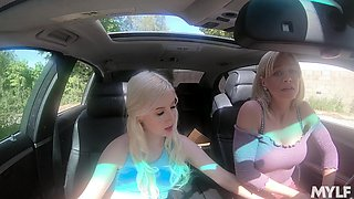 Astonishing curvy Vera Bliss has great time with busty babe in the car