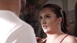 Horny brunette with big tits, Maddy is getting fucked in a massage room and enjoying it