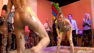 Mud wrestling girl is a winner