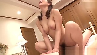 Japanese mom Kurata Mao fucking with son as soon as father goes out