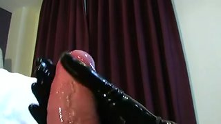 Latex oral-job, cook jerking and fuck in rubber bag.