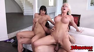 busty milf foursome fucking until climax with her hot friend