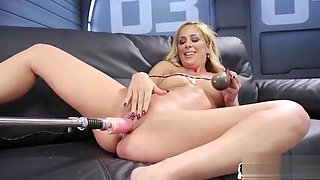 Machine babe plowed from behind before shaking orgasm